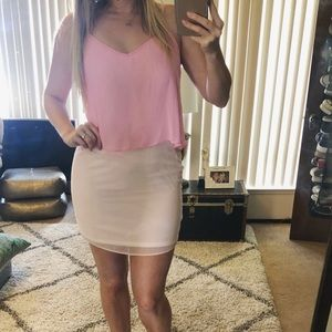 ASOS pink chiffon mini dress